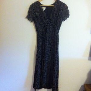 Talbots Long Black & Tan Pure Silk Dress